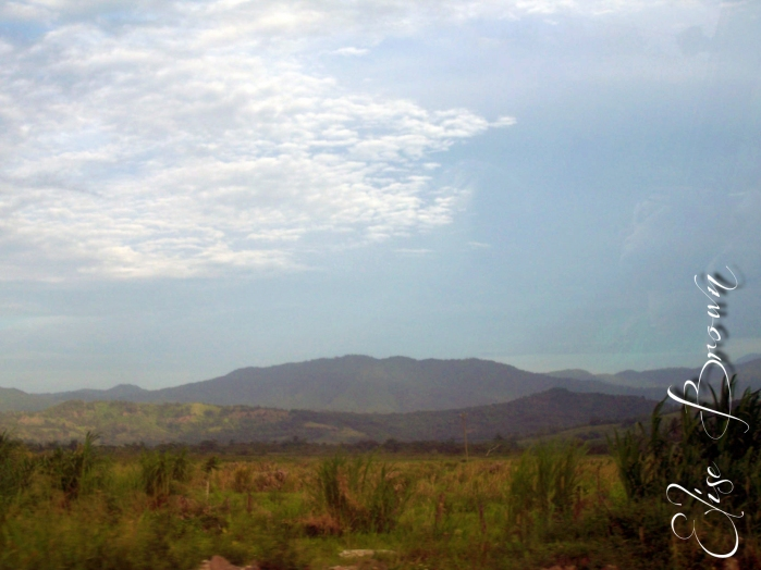 Mountains seen inland.