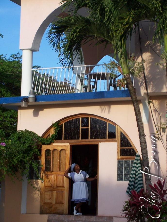 Relaxing at the villa where we stayed.
