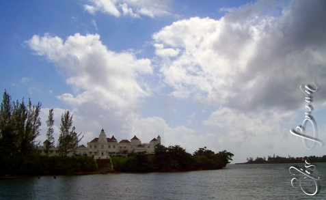 The mansion and sky.