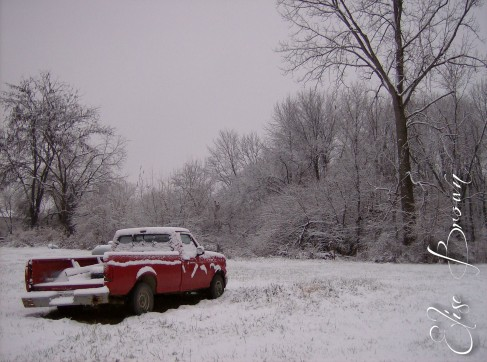 Red truck providing color to a snowy landscape.