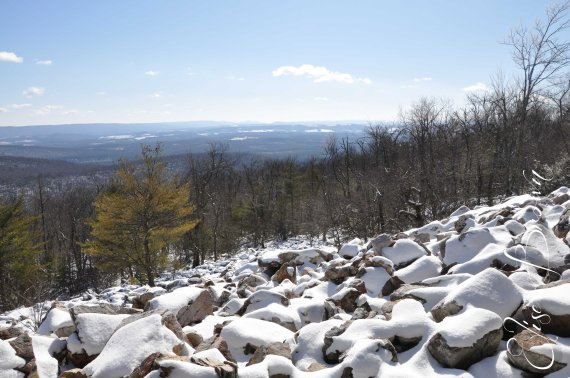 The trail along the top of the mountain ridge south of State College, PA.