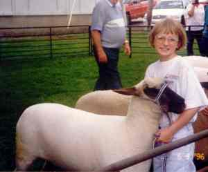 One of my first sheep shows in an outdoor practice ring at a summer sheep association meeting, age 9.