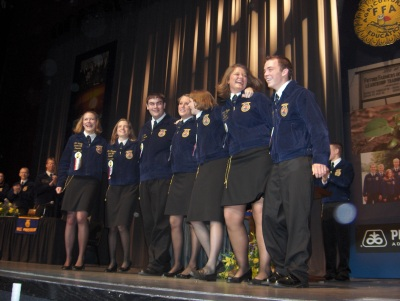 The first time the 2006-2007 Indiana FFA State Officer Team took the stage.