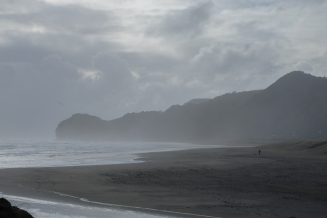 Rugged, windy Piha Beach along the Tasman Sea.