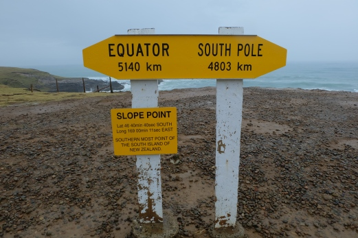 Slope Point, the southernmost point of NZ's South Island. It took a 20-minute walk through a sheep pasture to arrive. I was excited to be so close to the South Pole!