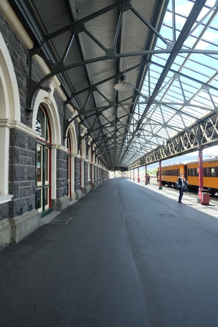 The platform at the beautiful Dunedin Railway Station.