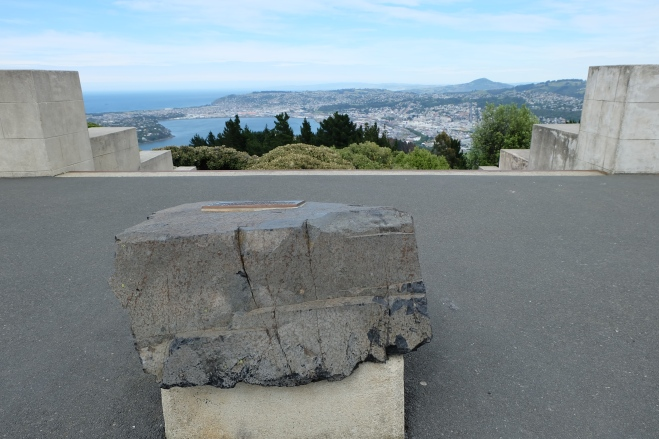 A stone from Edinburgh Castle overlooks the city of Dunedin, which is named after Edinburgh, Scotland.