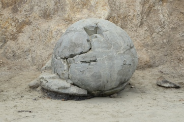 The Death Star rock at Moeraki Boulders.