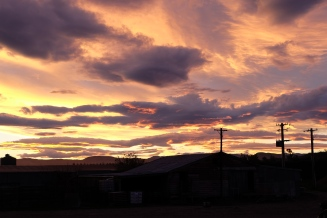 Sunset over the dairy farm.