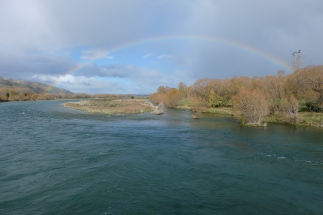 Rainbow over the Waitaki River, Kurow.