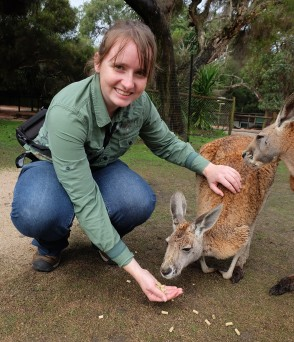 Feeding a kangaroo at Caversham Wildlife Park in Perth, Australia, on my final day in the Southern Hemisphere, July 2017.