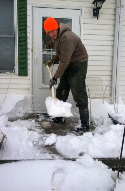 Snowy Adventure Dad Shoveling