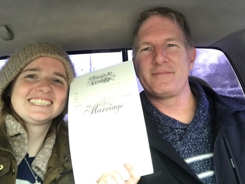 Jeff and Elise marriage license